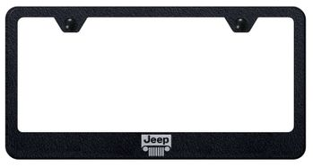 Jeep Grill Laser Etched Textured Black Stainless Steel Frame