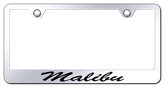 Chevy Malibu Script Laser Etched Mirrored Finish Stainless Steel Frame