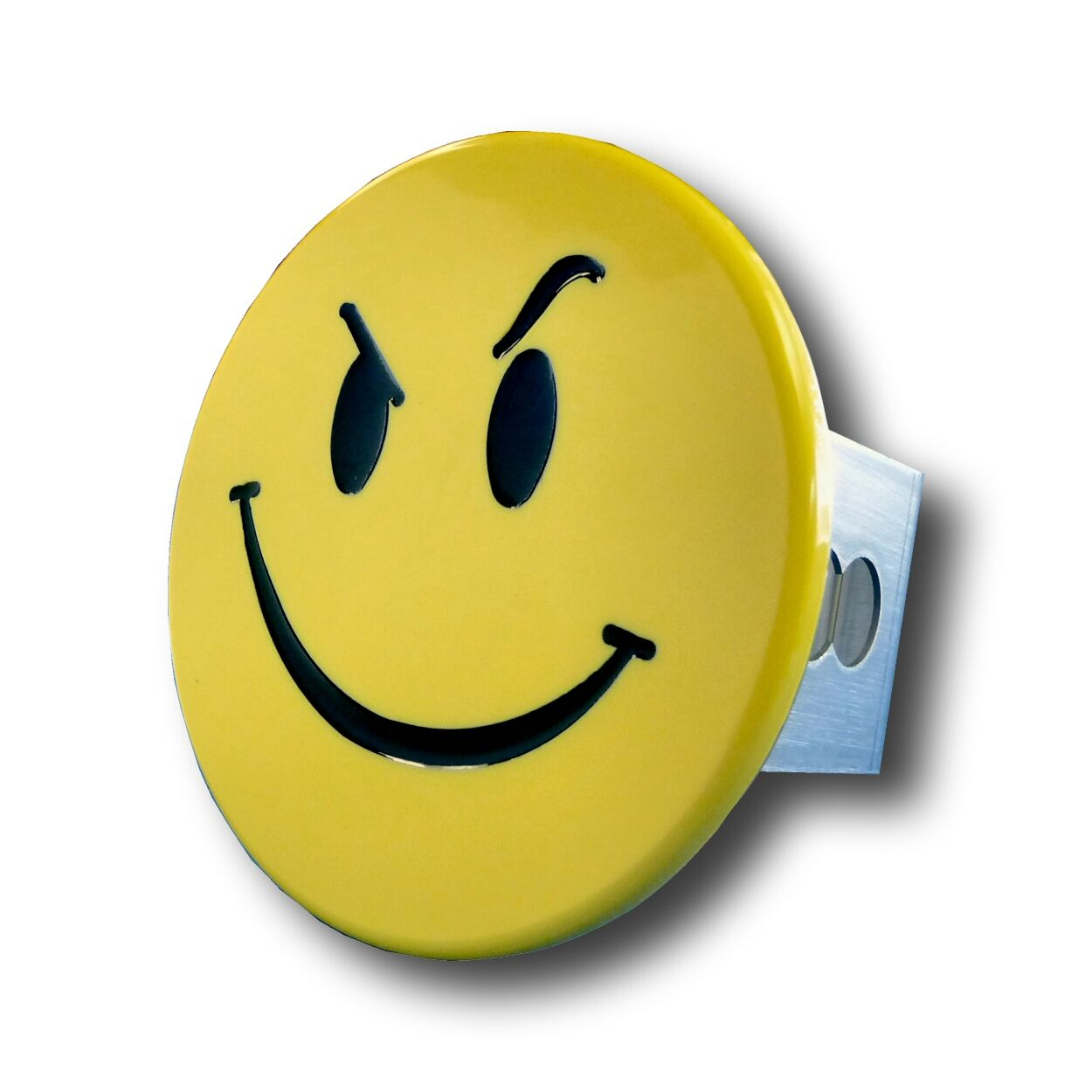 Image of Yellow Smiley Face with Smirk Stainless Steel Hitch Plug