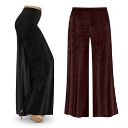 SALE! Customizable Plus Size Black or Chocolate Velvet Python Print Palazzo Pants - Tapered Pants - Sizes Lg XL 1x 2x 3x 4x 5x 6x 7x 8x 9x