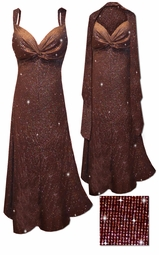SOLD OUT! SALE! 2 Piece Glittery Brown With Copper Vertical Lines Glitter Slinky Print 2 Piece Plus Size SuperSize Princess Seam Dress Set 5x