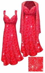 SOLD OUT! 2 Piece Sparkly Silver and Red Glitter Dots & Lines Slinky 2 Piece Plus Size & Super Size Princess Seam Dress Set 3x 5x
