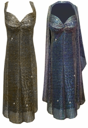 Customizable 2-Piece Semi-Sheer Sparkly Blue or Silver & Gold Strokes Glimmer - Fully Lined Plus Size SuperSize Princess Seam Dress Set 0x 1x 2x 3x 4x 5x 6x 7x 8x