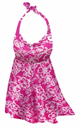 SOLD OUT! Customizable Plus Size Pink Tropical Flowers Print Halter or Shoulder Strap 2pc Swimsuit/SwimDress 0x 1x 2x 3x 4x 5x 6x 7x 8x 9x