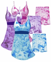 SALE! Blue Purple or Pink Spandex Babydoll Style Plus Size Tie Dye Swimdress With Matching Shorts 2 Piece Plus Size & Supersize Swimsuit 1x 2x 3x 4x 5x 6x 7x 8x