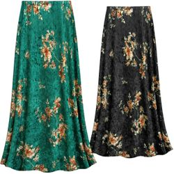 SALE! Customizable Green or Black CRUSH VELVET Floral Print Plus Size & Supersize Skirts - Sizes Lg XL 1x 2x 3x 4x 5x 6x 7x 8x 9x