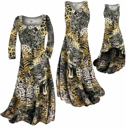 SOLD OUT! CLEARANCE! Black Lace Leopard Yellow Print Slinky Plus Size & Supersize  A-Line Dress 0x
