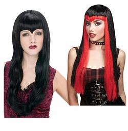 SALE! Black or Black & Red with Pointy Bangs Vampiress Wigs