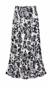 CLEARANCE! Black & White Floral With Sparkles Slinky Print Plus Size & Supersize Skirts - Sizes 4x