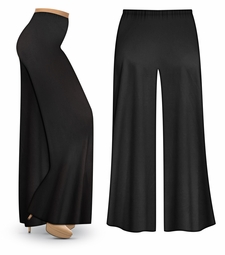 Black Wide Leg Plus Size Palazzo Pants with Elastic Waist, Customizable in Slinky, Cotton, or Velvet! Lg XL 0x 1x 2x 3x 4x 5x 6x 7x 8x 9x