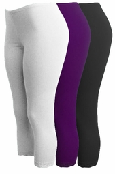 Brown - Purple - Black or White Lace Bottom Capri Plus Size Leggings 1x 2x 3x 4x 5x 6x 7x 8x