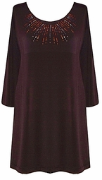Brown Slinky Rhinestone Plus Size & Supersize Shirts 2x 3x 4x 5x 6x 7x 8x