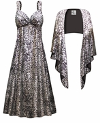 CLEARANCE! 2-Piece Silver & Black Sparkly Sequins Slinky Plus Size SuperSize Princess Seam Dress Set 2x