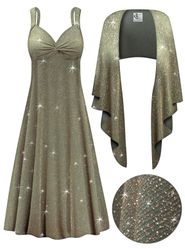 CLEARANCE! 2-Piece Sparkling Olive Glitter Slinky Plus Size SuperSize Princess Seam Dress Set 2x