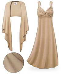 CLEARANCE! 2-Piece Tan with Silver Glimmer Plus Size & SuperSize Princess Seam Dress Set 2x 3x 7x 8x