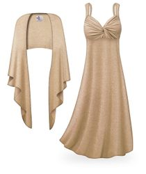 CLEARANCE! 2-Piece Tan with Silver Glimmer Plus Size & SuperSize Princess Seam Dress Set  3x 7x 8x