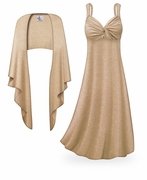 CLEARANCE! 2-Piece Tan with Silver Glimmer Plus Size & SuperSize Princess Seam Dress Set  7x 8x