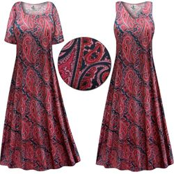 CLEARANCE! Berry Navy Paisley Slinky Print Plus Size & Supersize Short or Long Sleeve Dresses & Tanks XL