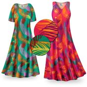 CLEARANCE! Birds of a Feather Slinky Print Plus Size & Supersize Short or Long Sleeve Dresses & Tanks Xl