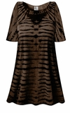 CLEARANCE! Black & Brown Striped Tie Dye Plus Size & Supersize X-Long T-Shirt 3x
