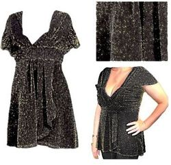 CLEARANCE! Black Glimmer Plus Size & Supersize Babydoll Top 1x