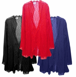 CLEARANCE! Navy Stretched Crochet Lace Cascading Plus Size Jacket / Swimsuit Cover Up 0x 4x 6x