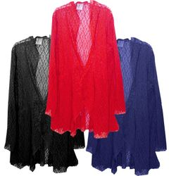 CLEARANCE! Navy Stretched Crochet Lace Cascading Plus Size Jacket / Swimsuit Cover Up 4x