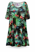 SOLD OUT! Black Orchid Print Plus Size & Supersize Extra Long T-Shirts