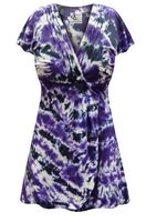 CLEARANCE! Black & Purple Tie Dye MAGIC BABYDOLL Cotton Top In Plus Size Supersize 5x
