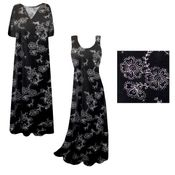 CLEARANCE! Black w/ Silver Daisies Glitter Slinky Print Plus Size & Supersize Short or Long Sleeve Dresses & Tanks - Sizes 2x