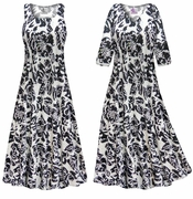 FINAL CLEARANCE SALE! Black & White Floral With Sparkles Slinky Print Plus Size Dress Sizes XL