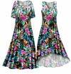 CLEARANCE! Black With Tropical Flowers Slinky Print Plus Size & Supersize Short or Long Sleeve Dresses & Tanks - Size 4x