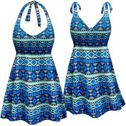 CLEARANCE! Blue Geometric Print Halter or Shoulder Strap 2pc Plus Size Swimsuit/SwimDress 5x