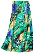 CLEARANCE! Blue & Yellow Floral Speckled Paradise Slinky Print Plus Size & Supersize Skirts - Sizes 1x