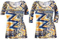 CLEARANCE! Bright Yellow and Blue Triangles Slinky Print Plus Size & Supersize A-Line Tunic Tops 1x