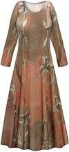 CLEARANCE! Brown Lilies Slinky Print Short or Long Sleeve Dresses 1x
