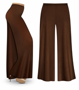 CLEARANCE! Plus Size Brown Wide Leg Palazzo Pants in Slinky, Velvet or Cotton Fabric 0x 1x 5x