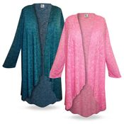 SOLD OUT! Cascading Plus Size & Supersize Duster Jacket in Pink 6x