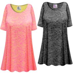 CLEARANCE!! Charcoal or Pink Semi-Sheer Burnout Print Extra Long T-Shirts Beach Coverup Tops / Swimsuit Coverups 3x