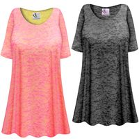 CLEARANCE!! Charcoal or Pink Semi-Sheer Burnout Print Extra Long T-Shirts Beach Coverup Tops / Swimsuit Coverups 3x 8x