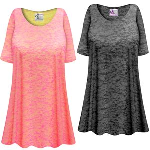 CLEARANCE!! Charcoal or Pink Semi-Sheer Burnout Print Extra Long T-Shirts Beach Coverup Tops / Swimsuit Coverups 3x 6x