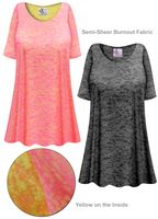 CLEARANCE!! Charcoal or Pink Semi-Sheer Burnout Print Extra Long T-Shirts Beach Coverup Tops / Swimsuit Coverups 8x