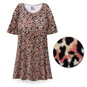 CLEARANCE! Creamsicle Leopard Print Plus Size & Supersize Extra Long T-Shirts 5x