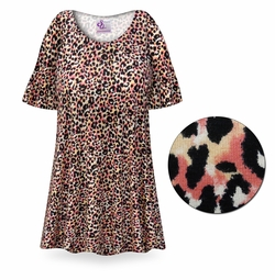SOLD OUT! Creamsicle Leopard Print Plus Size & Supersize Extra Long T-Shirts 5x