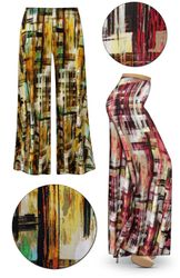 SOLD OUT! Crosshatch Slinky Print Plus Size & Supersize Palazzo Pants
