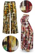 CLEARANCE! Crosshatch Slinky Print Plus Size & Supersize Palazzo Pants 2x