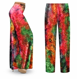 CLEARANCE!  CRUSH VELVET Tie Dye Print Plus Size & Supersize Palazzo Pants 1x