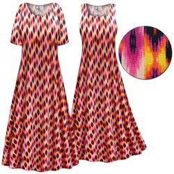 CLEARANCE! Customizable Magenta Orange Abstract Slinky Print Plus Size & Supersize Short or Long Sleeve Dresses & Tanks - Sizes 3x 4x 5x