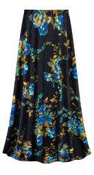 CLEARANCE! Customizable Navy Floral Slinky Print Plus Size & Supersize Skirt 9x Tall