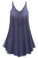 CLEARANCE! Customizable Navy With White Polka Dots Print Sheer A-Line Overshirt Supersize & Plus Size Top 0x